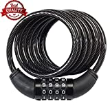#3: Speedy Ninja Men's Number Lock for Bikes, Helmets and Luggage (Black, 3.6ft/42-inch Length for Ease in Locking Objects at Distances)