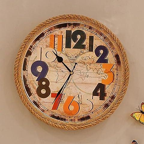 KHSKX-Art De Fer Derrière La Ficelle Sisal Quartz Mute Salon Décoré D'Horloge Horloge Murale Horloge Murale Ronde Décorations
