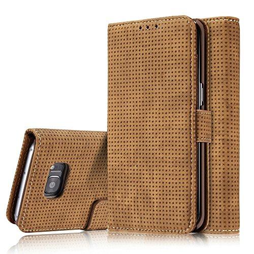 Retro Matte Breatheable Air-Mesh PU Leder Brieftasche Case Cover mit Kickstand Card Slots für Samsung Galaxy S7 Edge ( Color : Blue ) Yellow