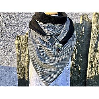 XXL Dreieckstuch TUECHERFEE Pepita Halstuch mit einem süßen Clip, Schal in schwarz/weiß/XXL Tuch/Schal mit Verschluss