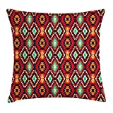 Native American Throw Pillow Cushion Cover, Geometric Triangle Aztec Tribal Motif Zig Zag Folk Art Style Ethnic Print, Decorative Square Accent Pillow Case, 18 X 18 Inches, Multicolor