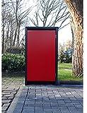 BBT@ Mülltonnenbox für 1 Tonne je 240 Liter ohne Stanzung in Anthrazitgrau/Front-Tür-Rot/Vollverzinkte Bleche hochwertig pulverbeschichtet