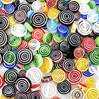 TOAOB 182pcs Mixed Colors Flat Round Stripe Glass Beads 6mm 8mm 10mm 12mm for Jewellery Making