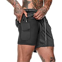XDSP Men's Running Shorts with Pockets Quick Dry Breathable Active Gym Shorts, Breathable Double Layer Running Gym Pants…