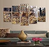 Moderne Home HD-gedruckten Wall Art Poster Frame 5 Stück Bilder Wald Tier Rotwild Landschaft Gemälde auf Leinwand Zimmer Dekor, 40 x 60 40 x 80 40 x 100 cm, Rahmen