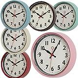 LS Design XL Edle nostalgische Metall Wanduhr Küchenuhr Bürouhr Retro Look Vintage Rosa Pink 21cm Rund