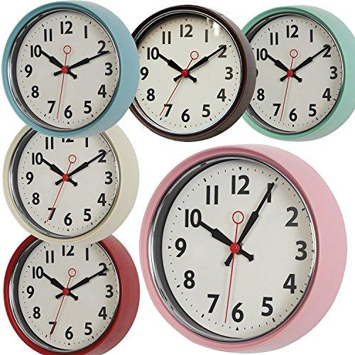 LS Design XL edle Metall Wanduhr Küchenuhr Bürouhr Retro Look Vintage Rosa Pink 21cm rund