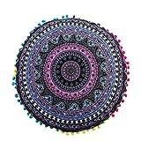 JiaMeng Almohadas de Piso Mandala Indio de Colorido Otoño Flor Árbol de Algodón Throw Pillow Case Funda de Almohada para cojín (H)