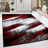 HomebyHome Moderner Design Guenstige Teppich Kurzflor abstrakt Schatten Schwarz Grau Weiss meliert Rot 5 Groessen Wohnzimmer ver. Farben u. Groeßen, Größe:200x290 cm