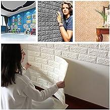 papel pintado ladrillo, AIMEE7 moderno PE Foam papel pintado 3d DIY pegatinas de pared barato decoración de la pared en relieve de piedra de ladrillo moderno (60 X 30 X 0.8cm, Blanco)