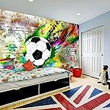 murando - Fototapete Fussball 400x280 cm - Vlies Tapete - Moderne Wanddeko - Design Tapete - Wandtapete - Wand Dekoration – Fußball Kindertapete Kinderzimmer Kinder i-C-0095-a-a