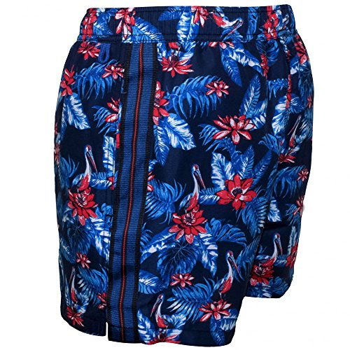 Shorts De Bain Floral Masculin Vibrant De Jockey, Marine Bleu/rouge Bleu Marine/bleu/rouge