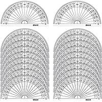 20 Piezas de Transportador de Plástico Transportador de Ángulo 180 Grados para Medición de Ángulo Matemáticas de Estudiante, 4 Pulgadas, Transparente