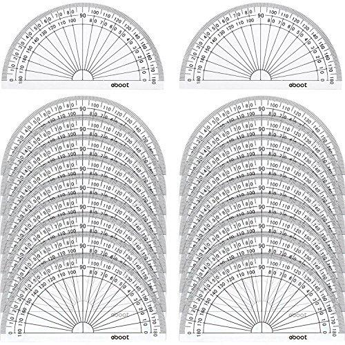 Kunststoff Winkelmesser 180 Grad Winkelmesser für Winkel Messung Student Mathematik, 4 Zoll, Klar, 20 Stück (Winkel Messung)