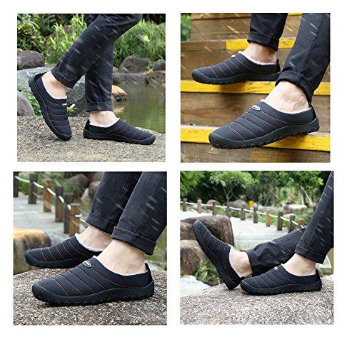 ASUGE Hommes Femmes Pantoufles Doux Chaud Doublé Doublé Slip Sur Pantoufles en Plein Air Intérieur Pantoufles Maison Anti-Slip Noir