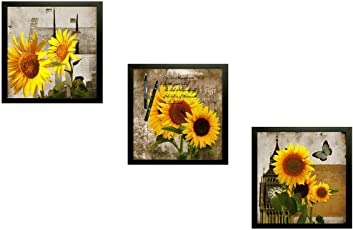 SAF Beautiful Sunflower Floral 7640 Set of 3 Painting (25 x 3 x 25 cms)
