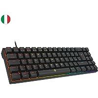 DREVO Calibur V2 60% Tastiera Meccanica da Gaming RGB, Layout Italiano Compatta 72 Tasti, Lavora su PC/Mac, Cavo USB Type-C scollagabile, Nera, Interruttore Outemu Marroni