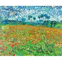 Cuadro sobre lienzo 60 x 50 cm: Field of Poppies, Auvers-sur-Oise de Vincent van Gogh - cuadro terminado, cuadro sobre bastidor, lámina terminada sobre lienzo auténtico, impresión en lienzo
