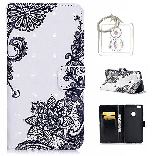 Preisvergleich Produktbild für Huawei P10 Lite (5,2 Zoll) Hülle, Retro 3D Muster PU Leder Hülle Wallet Case Folio Schutzhülle in mit Standfunktion Karteneinschub und Etui Flip Case Schutzhüllen +Schlüsselanhänger (P) (12)