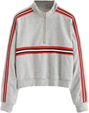 Saingace Women Stylish Casual Long Sleeve Sweatshirt Sports Running Hiking Stripe Jumper Pullover Strapless Tops Blouse