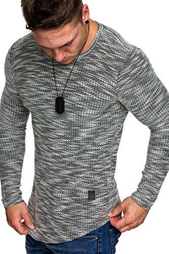 Crewneck Pullover (Amaci&Sons Oversize Vintage Herren Pullover Hoodie Sweatshirt Crew-Neck 6024 Schwarz XL)