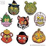 8 Masken * HALLOWEEEN * für Motto-Party oder Karneval // Set Masks Verkleidung Kostüm Kinder Kindergeburtstag Geburtstag Fasching Affe Bär Kürbis Drache Totenkopf Wolf Hexe grünes Männchen Alien