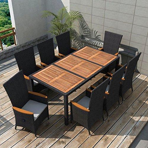 binzhoueushopping Mobilier de Jardin 17 pcs Noir Design élégant et Contemporain en Bois d'acacia Résine tressée XXL Dimensions de la Table 190 x 90 x 75 cm (L x P x H)