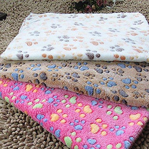 QHGstore Weiche warme Haustier Fleece Decken Bett Matten Auflage Abdeckungs Kissen für Hund Katze Welpen Tier Brown Footprint M
