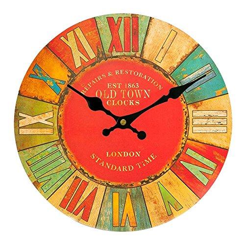 Alxcio Horloge Murale Ronde en bois Design Vintage Silencieuse pour Décoration de Bureau Salon Maison Salle avec Chiffre Romain Mouvement à Quartz Taille Grand Shabby Chic Sleek Déco 14 pouce / Diamètre 34cm