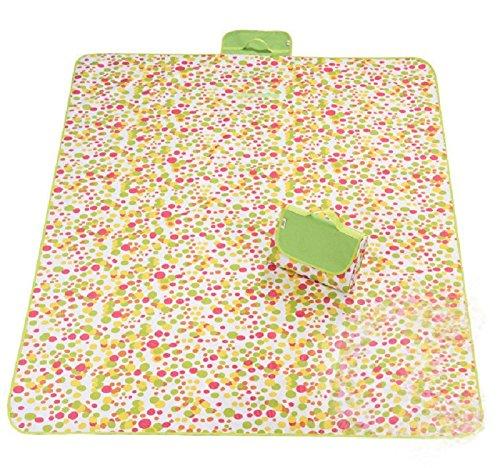 zanasta XXL Picknickdecke 200 x 145 cm Outdoor Decke für Camping, Strand und Freizeit Wasserdicht dank Nylon, Groß mit Tragegriff Punkte Gelb-Orange-Pink-Grün