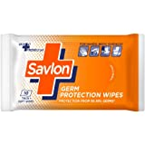 Savlon Germ Protection Wet Wipes - 10 Wipes | Multi Purpose | Fights Germs on Hands, Body and Surfaces | Easy to Carry | Use