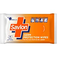 Savlon Germ Protection Wet Wipes - 10 Wipes | Multi Purpose | Fights Germs on Hands, Body and Surfaces | Easy to Carry…