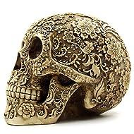 Descripción - Color: Como se muestra. - Material: Resina. - Tamaño: 19 * 13 * 14,5 cm / 7,48 * 5,1 * 5,7 pulg. - Coordinar con otras fuentes del partido de Halloween y decoraciones de Halloween. - Ocultar este cráneo en lugar oscuro con un paño negro...