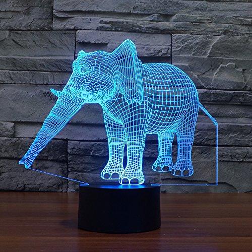 NIID 3D Illusion Nachtlicht LED-Licht 7 Farbe mit Touch-Schalter USB-Kabel Nizza Geschenk Home Office Dekorationen, Elefant