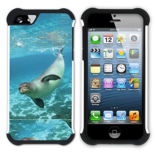 Graphic4You Seehund Tier Weiß Hart + Weiche Kratzfeste Hülle Case Schale Tasche Schutzhülle für Apple iPhone SE / 5 / 5S Design #10