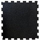 Puzzlematten aus Gummigranulat | Fitnessmatte als Bodenbelag für Sport und Fitness | Unterlegmatten für Fitnessgeräte | Sportmatte 1 Stück 50x50 cm schwarz