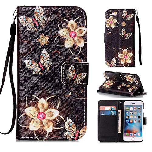 MOONCASE IPhone 6 / 6S Étui, [Dreamchaser] Dessin Motif Bookstyle PU Cuir Flip Housse Etui à rabat Portefeuille TPU Case Cover avec Strap Lanière pouriPhone 6 / 6S (4.7 inch) Flower and Butterfly