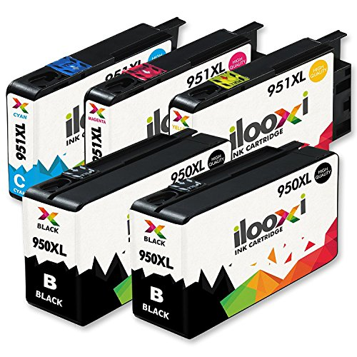 Ilooxi 5x Druckerpatronen kompatibel für HP 950 XL HP 950XL HP 951 XL HP 951XL für HP Officejet Pro 8620 8610 8600 Plus 276dw 8100 8615 251dw 8625 8660 8640 8630 Drucker Tintenpatronen (2x Schwarz, 1x Cyan, 1x Magenta, 1x Yellow) (Hp Officejet Pro 8625 Drucker)