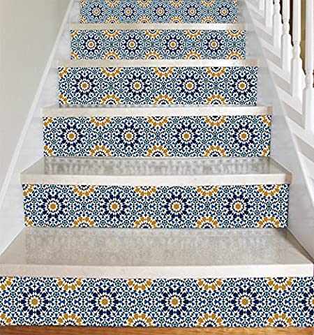 Wallpaper Strips (Marrakech Moroccan Style) for Stair Risers/ Stair Steps / Wall Baseboard - Peel and Stick - Self Adhesive - Home Decor DIY - Pack of 5 Strips (Step Height 6