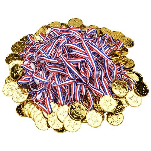 Onepine 100 Stücke Medaillen Kindergeburtstag Kunststoff Gold Medaillen für Kinder Sport Party, Spiel Medaillen (100 Stücke)