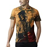 HUETRAP Men's Skull Rock Music Blazing Orange T Shirt