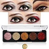 Weisy 5 Farben Glitzer Powder Make-up Palette Professional - Langlebig & Schimmer Lidschatten Palette - Augen Make-up Glitter Hoch Pigmentiert Mineral Pressed Glitter