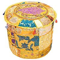 Stylo Culture Decorative Indian Patchwork Pouf Cover Round Embroidered Pouffe Ottoman Yellow Cotton Floral Traditional Furniture Footstool Seat Puff (22x22x14) Bean Bag Home Decor