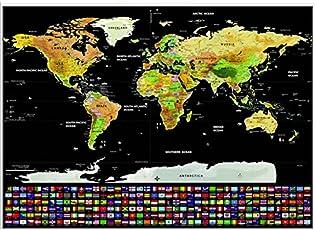 Lepakshi Luxury Edition Black Scrape World Map Deluxe Travel Scratch World Map Travel Map Poster Scratch Off World Map Gift for Traveler Small