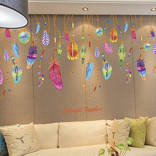 Pegatina Vinilo plumas atrapasueños decoracion paredes o cristal habitaciones boutiques, salones comedores, probadores, aticos, caravanas,colegios 80 x 50 cm de CHIPYHOME
