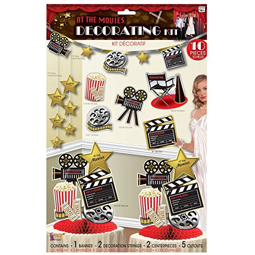 10 Stück Folie Filme Raum Dekoration Hollywood Kit Pack Hollywood Thema Premiere Popcorn Party Wimpelkette Ausschnitt tafelaufsätze Tisch Stück (Dress Hollywood Film Stars Fancy)