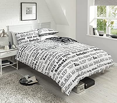 Pieridae Sleep Text Black / White Reversible Single Double King Duvet Bedding Quilt Cover Blanket Set - low-cost UK light shop.
