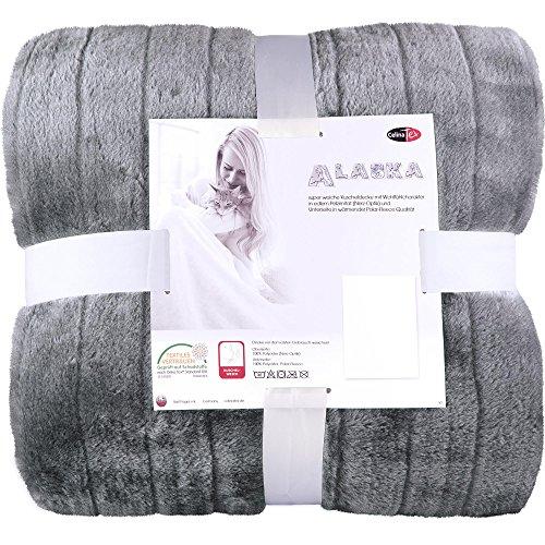 Elegante Kuscheldecke Fellimitat | 2 Größen verschiedene Farben | 150 x 200 cm | Felldecke Wohndecke Webpelzdecke | CelinaTex 5000001 | Alaska grau