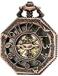 SEWOR Octagon rojo cobre bate de esqueleto reloj de bolsillo estilo Steampunk Totem Dial mecánico mano viento