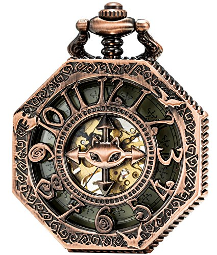 SEWOR Octagon Vintage Bat Style Mechanical Hand Wind Pocket Watch Halloween Gift (Red Copper)